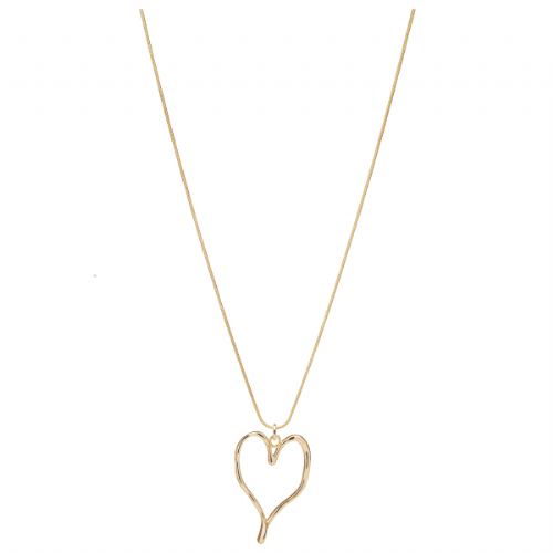 Bisoux Jewellery Long Simple Abstract Heart Necklace in Rose Gold